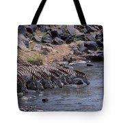 Crossing The Mara River Tote Bag
