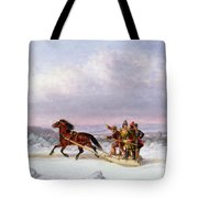 Crossing The Saint Lawrence From Levis To Quebec On A Sleigh Tote Bag by Cornelius Krieghoff