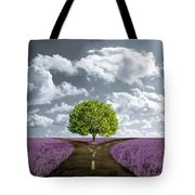 Crossroad In Lavender Meadow Tote Bag