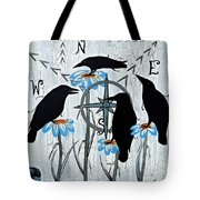 Crow Flowers Tote Bag