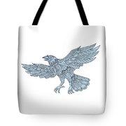 Crow Flying Mandala Tote Bag