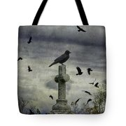 Crow Keeps Her Perch Tote Bag