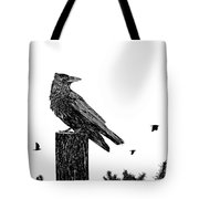 Crow On Fence Post Tote Bag