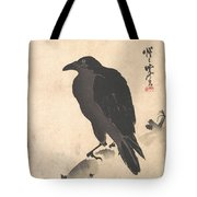 Crow Resting On Wood Trunk Tote Bag