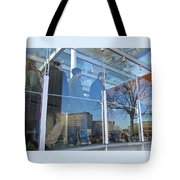 Crowd Queuing Up Tote Bag