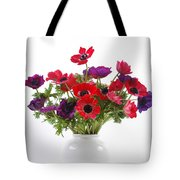 crown Anemone in a white vase Tote Bag