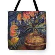 Crown Imperial Fritillaries In A Copper Vase Copy Tote Bag