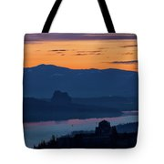 Crown Point And Beacon Rock At Dawn Tote Bag