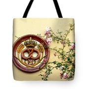Crowned Pretzel Sign With Roses Tote Bag