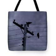 Crows And A Crescent Moon Tote Bag