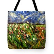 Crows Flying Over Tulips Tote Bag