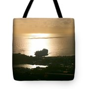 Cruise Ship At Sunset Tote Bag