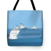 Cruiseship At Dockyard Bermuda Tote Bag