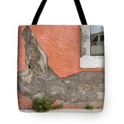 Crumbled Plaster Of An Orange Wall, Reflection Of A Boat In The Window Tote Bag