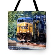 Csx Train Rounding The Bend Tote Bag