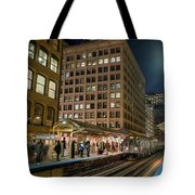 Cta Pulls Into The State-lake Street Station Chicago Illinois Tote Bag