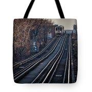 Cta Train Approaching Damen Avenue Station Chicago Illinois Tote Bag
