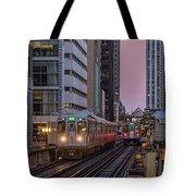 Cta Train On The L At Dusk Chicago Illinois Tote Bag