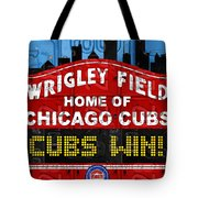 Cubs Win Wrigley Field Chicago Illinois Recycled Vintage License Plate Baseball Team Art Tote Bag