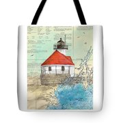 Cuckolds Lighthouse Me Nautical Chart Map Tote Bag