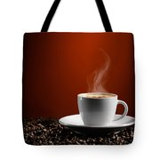 Cup Of Coffe Latte On Coffee Beans Tote Bag