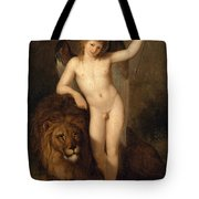 Cupid With A Lion Tote Bag