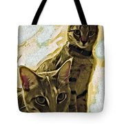 Curious Cats Tote Bag by David G Paul