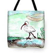 Curious Ibis Stands By Tote Bag