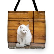 Curious White Cat  Tote Bag