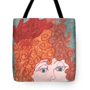 Curly Red Hair Tote Bag