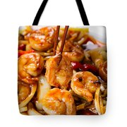 Curry Shrimp And Peppers On White Serving Plate Ready To Eat Tote Bag