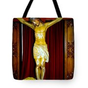 Curtains And Cross Tote Bag