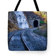 Curves On The Railways At The Entrance Of The Tunnel Tote Bag