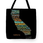 Custom Silhouette Art Print, Pop Art California Map, Modern Style Country Map, Country Maps For Home Tote Bag