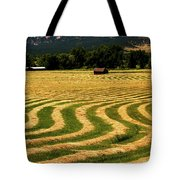 Cut Hay In Field Tote Bag
