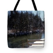 Cut River In Winter With Ducks Tote Bag