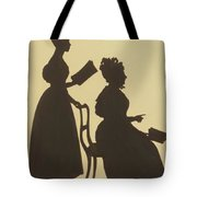 Cut Silhouette Of Two Women Facing Right 1837 Tote Bag