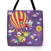 Cute Animals In Air Balloon Tote Bag