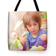 Cute Boy Enjoy Easter Holiday Tote Bag