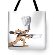 Cute Chef Box Character With Big Fork Tote Bag