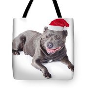 Cute Dog In Santa Hat Tote Bag