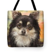 Cute Furry Brown And White Chihuahua On Orange Background Tote Bag