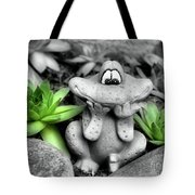 Cute Garden Frog And Succulents Tote Bag