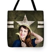 Cute Military Pin-up Woman On Army Star Background Tote Bag by Jorgo Photography - Wall Art Gallery