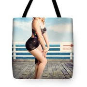 Cute Pinup Girl Looking Surprised On Beach Pier Tote Bag