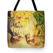 Cute Weathered White Garden Ornament Of A Dog Tote Bag