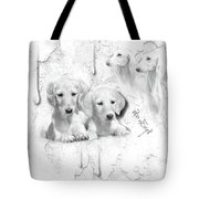 Cute White Salukis With Puppies Tote Bag