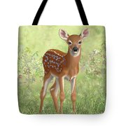 Cute Whitetail Deer Fawn Tote Bag by Crista Forest