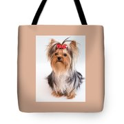Cute Yorkie Puppy With Red Bow Tote Bag