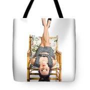 Cute Young Woman Sitting Upside Down On Chair Tote Bag
